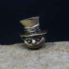 Бусина Чеширский Кот в шляпе латунь